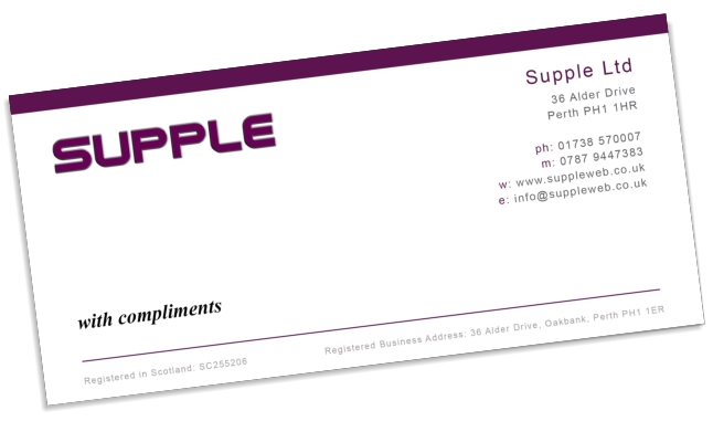 Suppleweb Graphic Design Compliment Slips